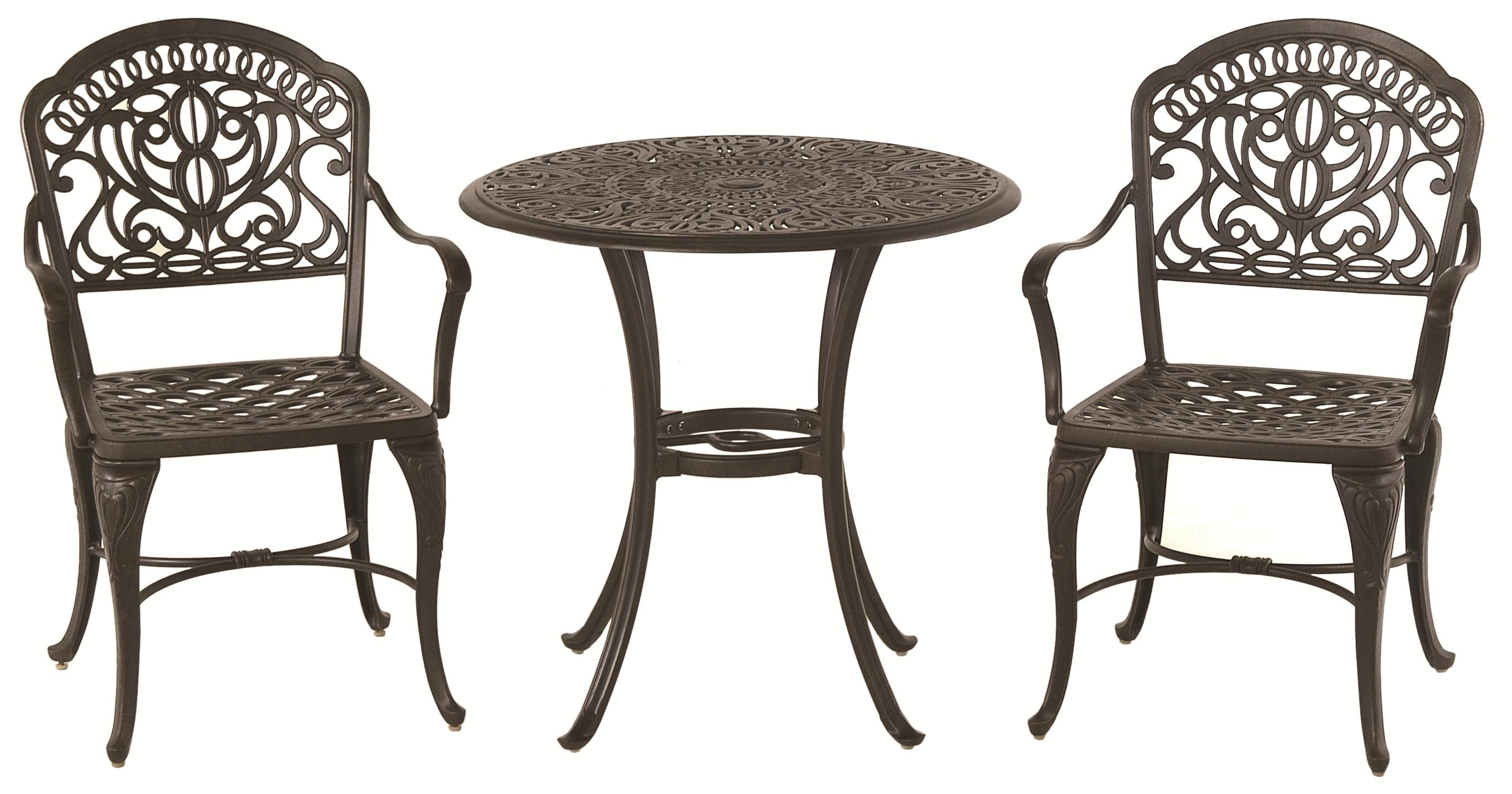 Hanamint Tuscany 3 Piece Bistro Set With Ornate Casting And Detailed Legs    AHFA   Outdoor Bistro Dining Set Dealer Locator