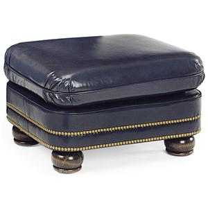 Austin Traditional Ottoman with Bun Feet and Nailhead Trim by Hancock & Moore