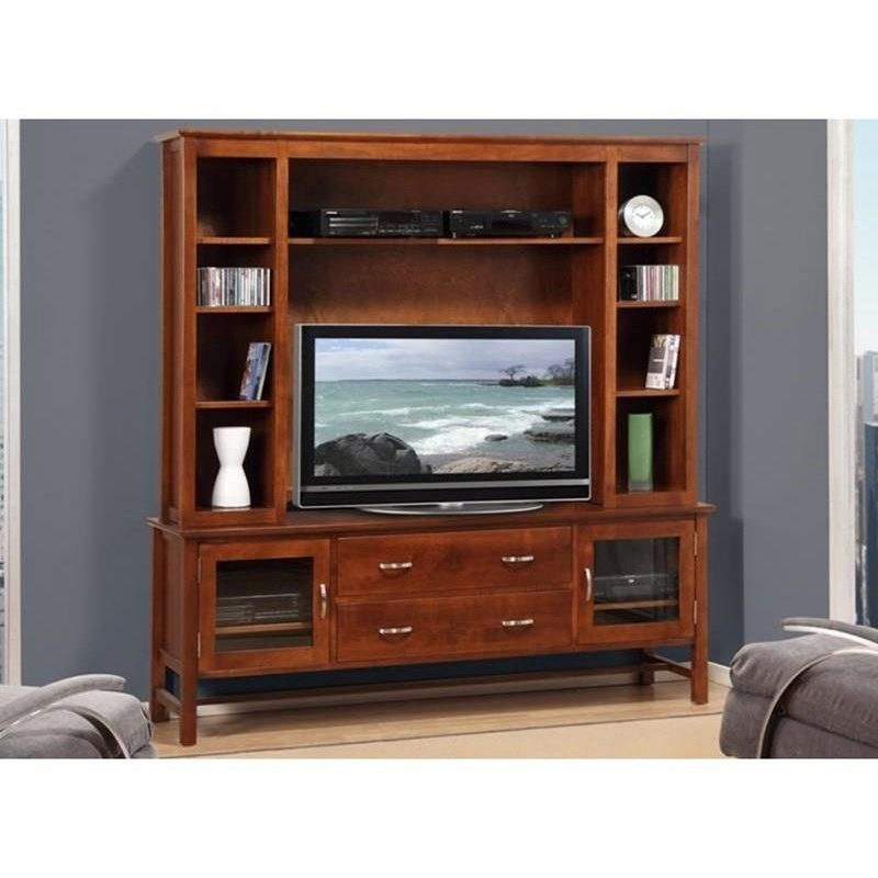 "Brooklyn 74"" HDTV Cabinet with Hutch by Handstone at Stoney Creek Furniture"