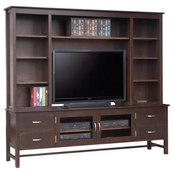 """Brooklyn 84"""" HDTV Cabinet with Hutch by Handstone at Jordan's Home Furnishings"""