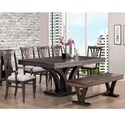 Handstone Verona Customizable Table and Chair Set with Bench - Item Number: P-VE-4272-2+3x20FS+2x21FS+1672WS