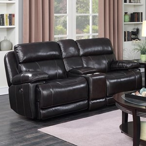 Happy Leather Company 1397 Power Loveseat with Console