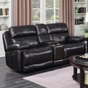 Happy Leather Company 1397 Power Loveseat with Console - Item Number: 1397-54PG Houston Brown