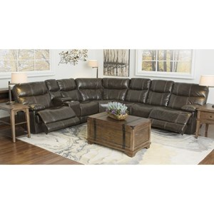Happy Leather Company 3282B Reclining 6 Seat Sectional