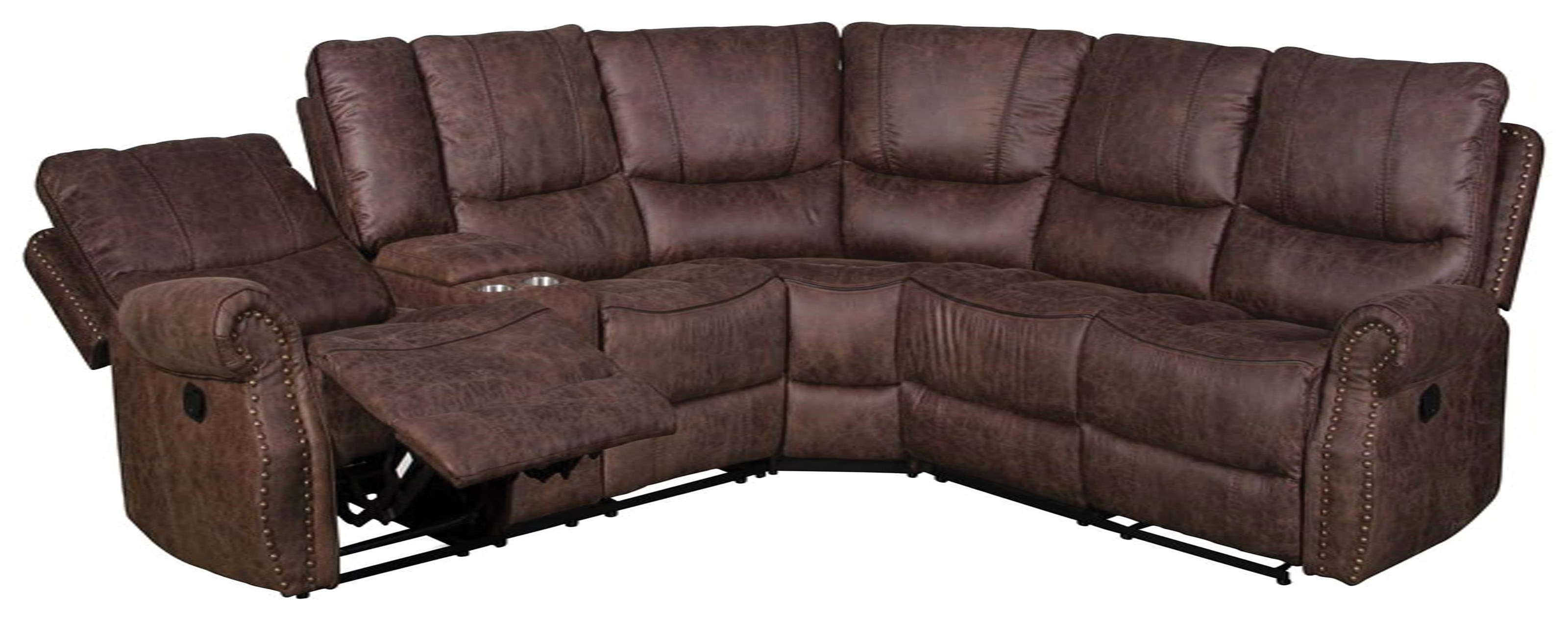 6977 3 Piece Reclining Sectional by Happy Leather Company at VanDrie Home Furnishings