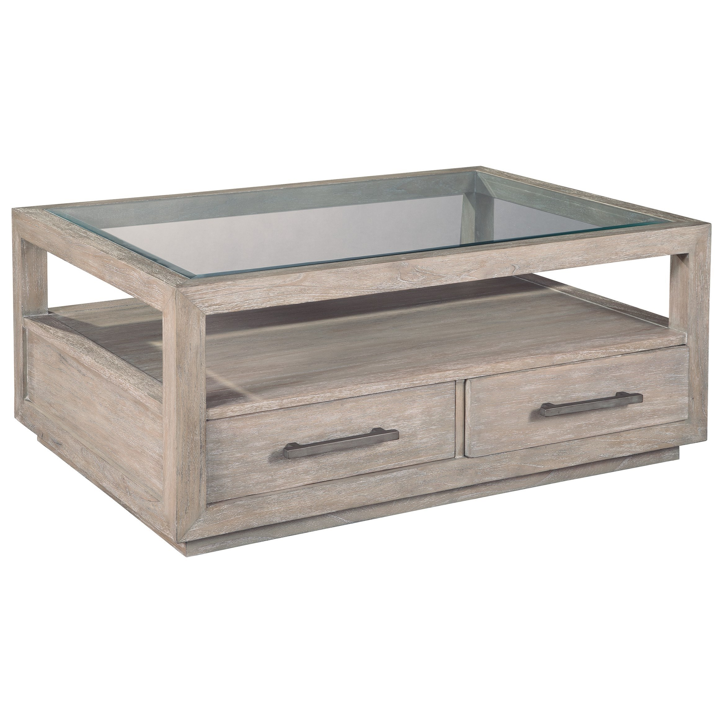 Hekman Berkeley Heights Two Drawer Rectangular Glass Top Coffee Table Howell Furniture Cocktail Coffee Tables