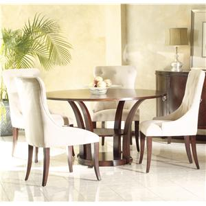 """Hekman Metropolis Round Table 54"""" and Upholstered Chairs"""