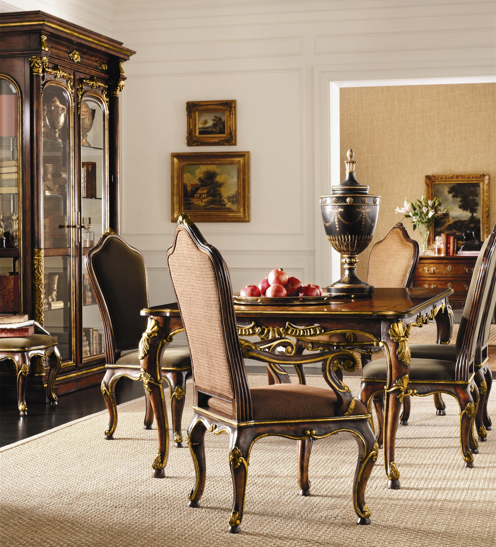 Henredon Arabesque Leg Table U0026 Upholstered Back Chairs Set | Sprintz  Furniture | Dining 7 (or More) Piece Sets Nashville, Franklin, And Greater  Tennessee