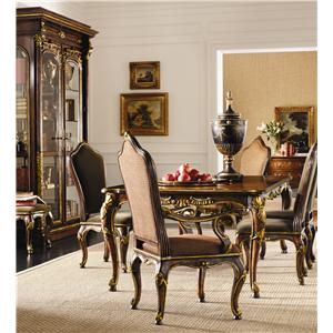 Leg Table Upholstered Back Chairs Set