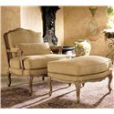 Henredon Henredon Upholstery Upholstered Memoir Ottoman with Cabriole Legs - Shown in Living Room with Coordinating Chair