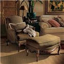 Henredon Henredon Upholstery Phillipe Chair with Exposed Wood Cabriole Legs - Shown with Coordinating Ottoman