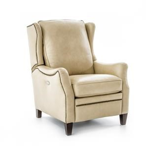 Transitional Power High Leg Recliner With Nailheads