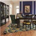 HGTV Home Furniture Collection Modern Heritage Transitional Four Leg Dining Table - Shown with Coordinating X Back Side Chairs, Concave and Convex Dining Chest Set and Coordinating Accent Items