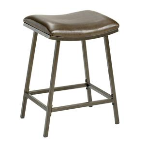 Morris Home Furnishings Backless Bar Stools Saddle Counter/Barstool with Nested Leg