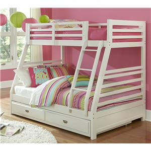 Hillsdale Bailey White Twin/Full Bunk Bed with Trundle