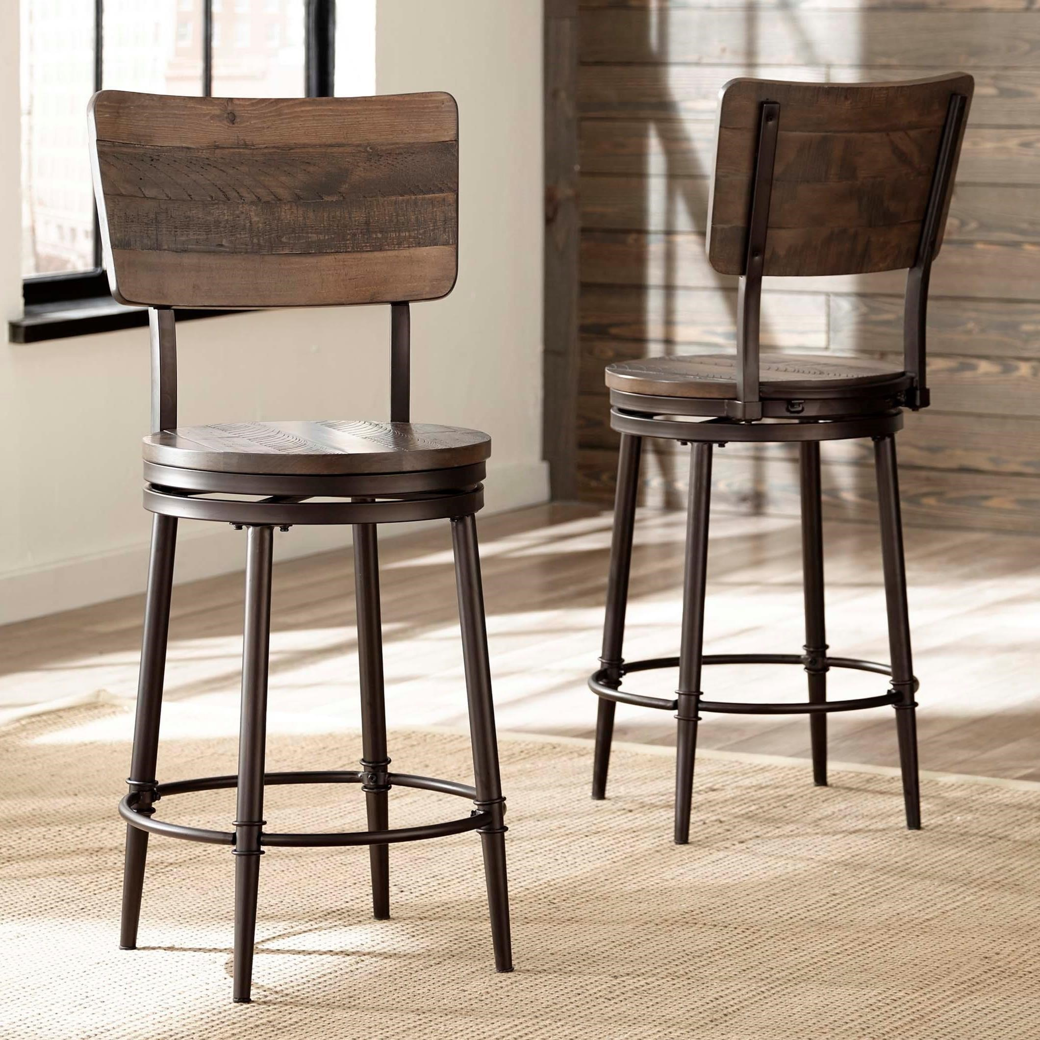Hillsdale Metal Stools Swivel Counter Stool With Wood Back