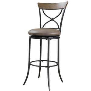 Morris Home Furnishings Metal Stools Charleston Swivel X-Back Bar Stool