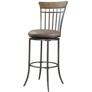 Morris Home Furnishings Metal Stools Charleston Swivel Spindle Back Bar Stool