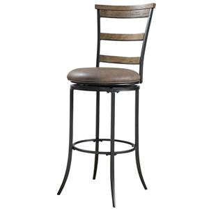 Morris Home Furnishings Metal Stools Charleston Swivel Ladder Back Bar Stool