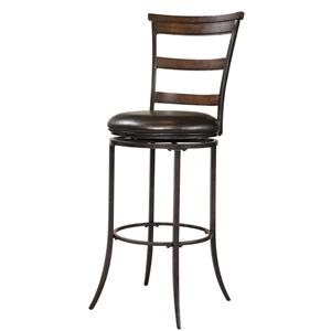 Morris Home Furnishings Metal Stools Cameron Swivel Ladder Back Bar Stool