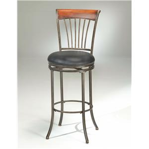 Morris Home Furnishings Metal Stools Riley Wood Swivel Bar Stool