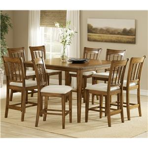 Morris Home Furnishings Bayberry and Glenmary Nine-Piece Counter Height Dining Set