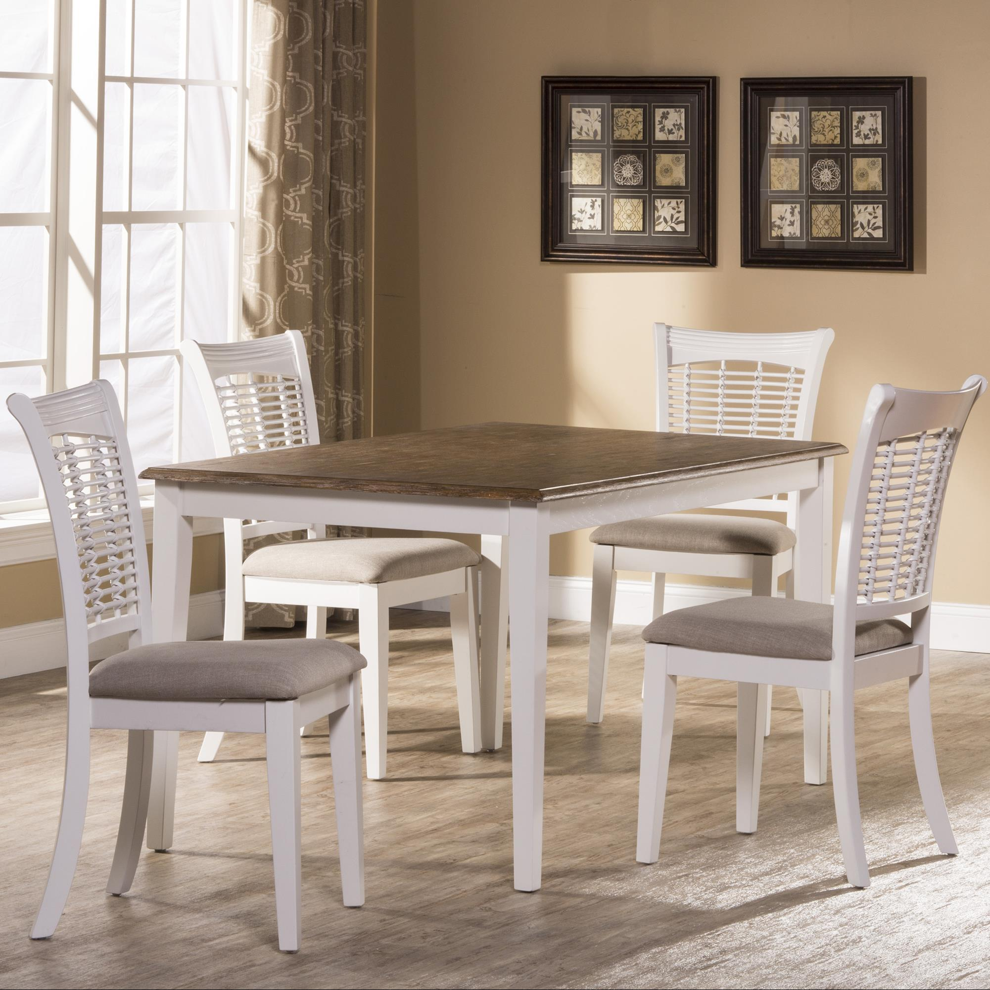 Hillsdale Bayberry White Five Piece Rectangle Dining Set - Item Number: 5791DTBRC