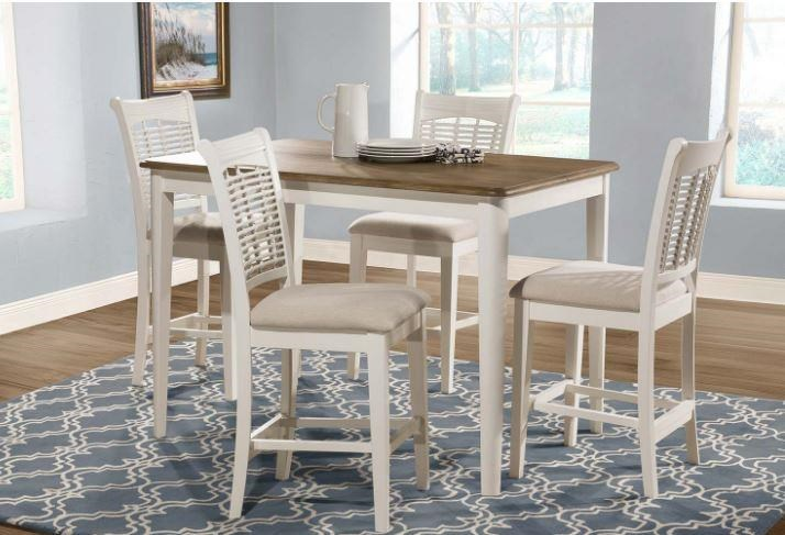 Bayberry White Counter Table and 4 Stools by Hillsdale at Johnny Janosik