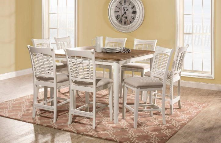 Bayberry White Counter Table and 8 Stools by Hillsdale at Johnny Janosik