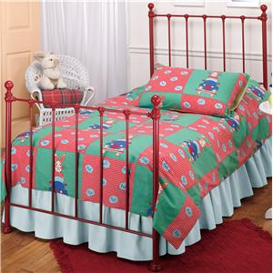 Morris Home Furnishings Metal Beds Twin Red Molly Bed