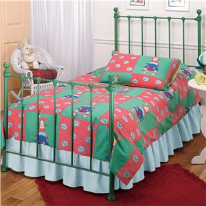 Morris Home Furnishings Metal Beds Twin Green Molly Bed