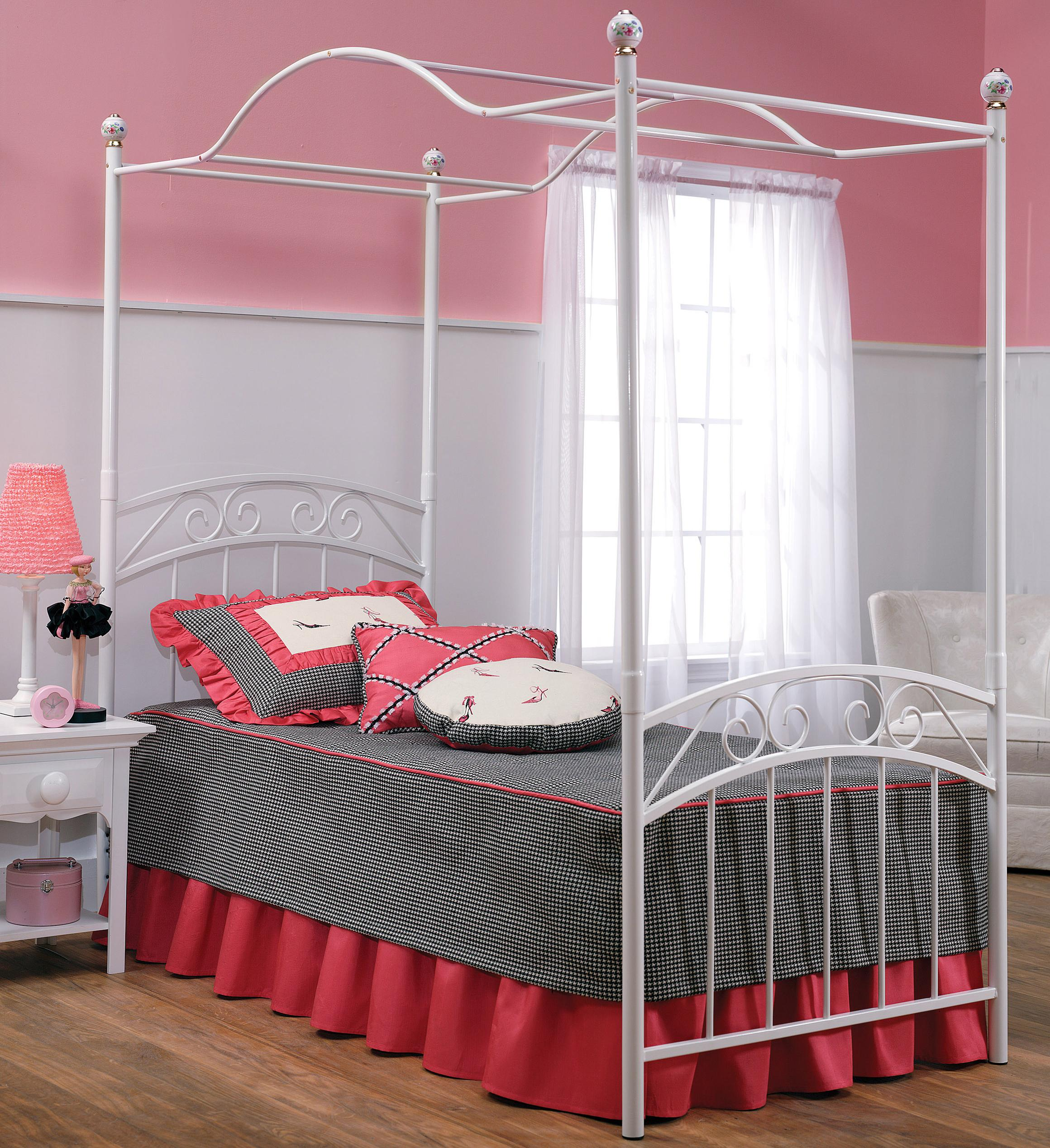 Hillsdale Metal Beds Twin Emily Canopy Bed - Item Number: 11180BTWPR