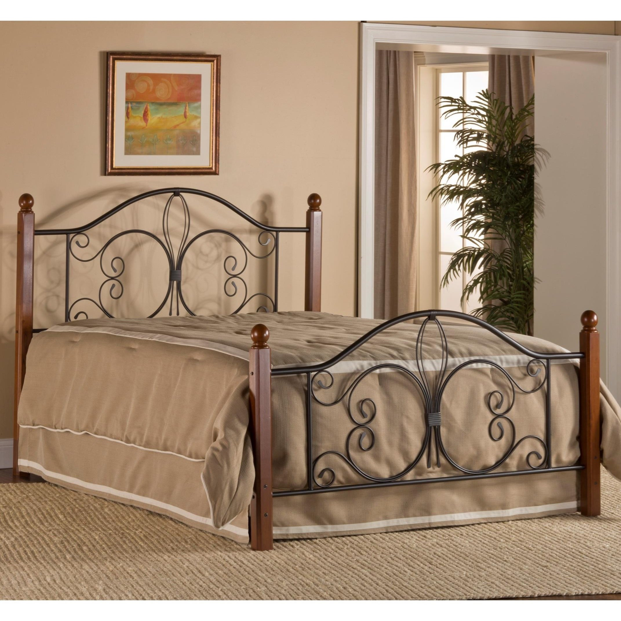 Hillsdale Metal Beds 1422bqrp Queen Milwaukee Wood Post Bed With Bed Frame Corner Furniture Panel Beds