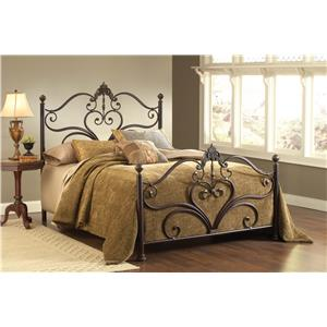 Hillsdale Metal Beds Newton King Bed Set with Scrollwork