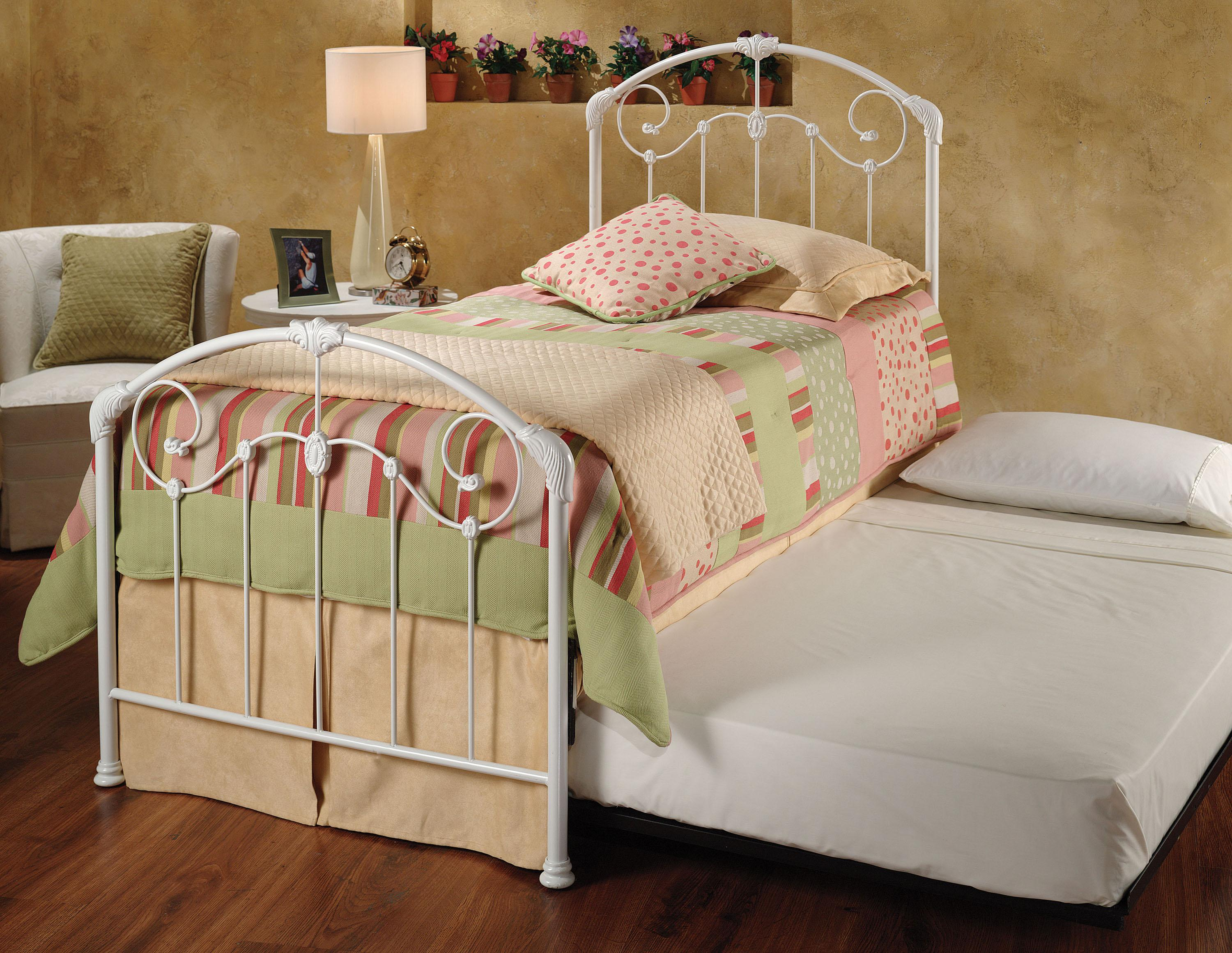 Hillsdale Metal Beds Mia Twin Bed w/ Roll-Out Trundle - Item Number: 325BTWHTR