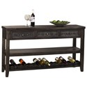 Hillsdale Bolt Sofa Table with Wine Rack and Studded Hardware