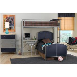 Hillsdale Brayden Twin Study Loft with Rails and Chest