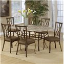 Hillsdale Brookside Diamond Fossil Back Dining Chair - Shown with Rectangle Dining Table