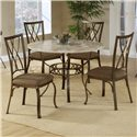 Hillsdale Brookside Diamond Fossil Back Dining Chair - Shown with Round Dining Table
