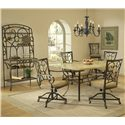 Morris Home Furnishings Brookside Five Piece Rectangle Dining Set with Caster Chairs - Shown with Baker\'s Rack