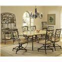 Hillsdale Brookside Seven Piece Rectangle Dining Set with Caster Chairs - Shown with Baker\'s Rack