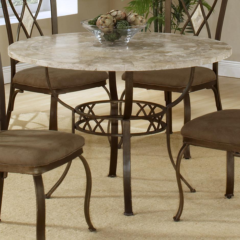 Brookside Round Dining Table with Fossil Stone Top - Rotmans ...