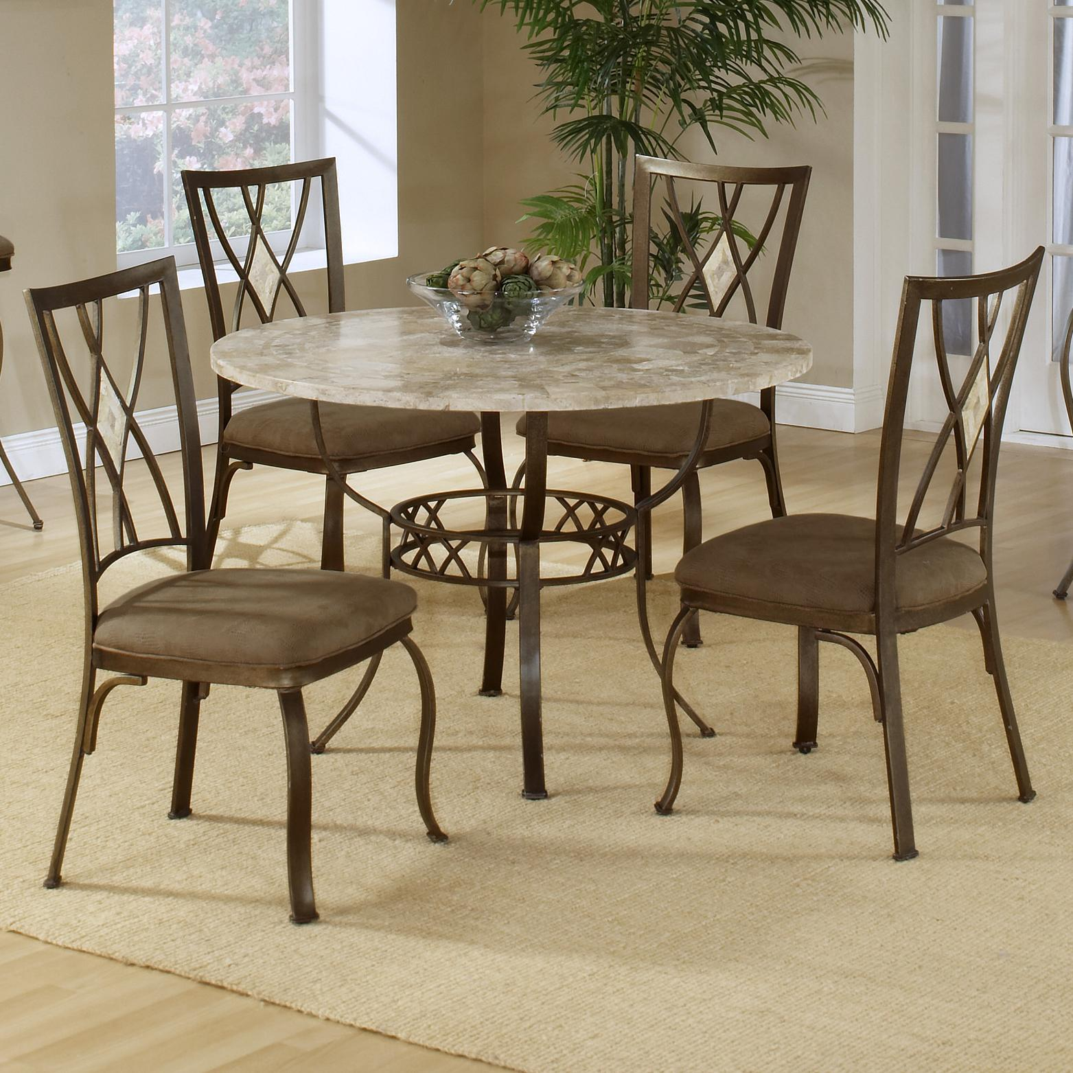 Hillsdale Brookside Five Piece Round Dining Set - Item Number: 4815DTRNBCDM
