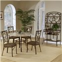 Hillsdale Brookside Five Piece Round Dining Set with Oval Back Chairs - Shown with Baker\'s Rack