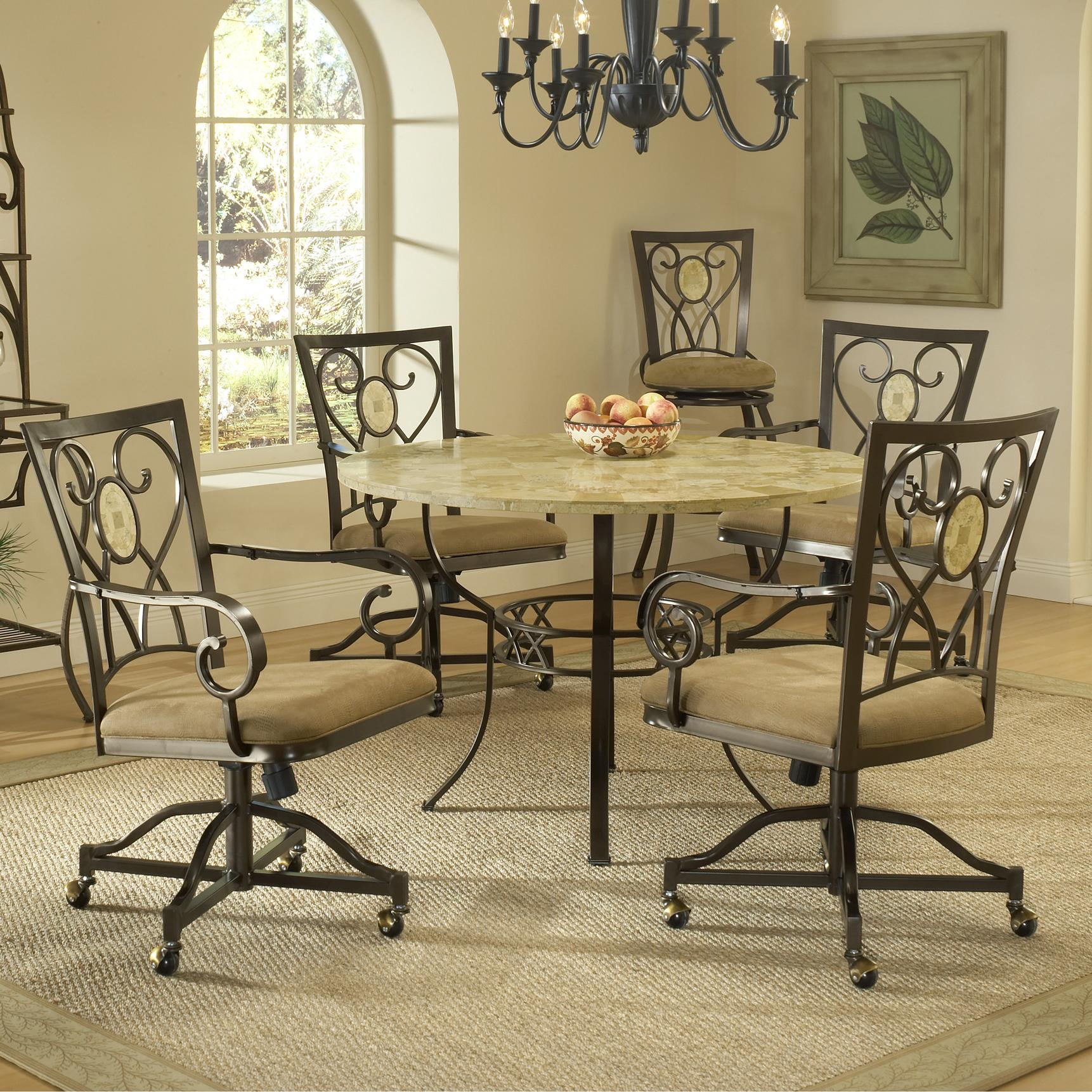 Hillsdale Brookside Five Piece Round Dining Set - Item Number: 4815DTRNBCOVC