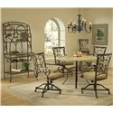 Hillsdale Brookside Five Piece Round Dining Set with Caster Chairs - Shown with Baker\'s Rack