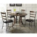 Hillsdale Cameron Round Wood Dining Table with Metal Acent Base - Shown with Ladder Back Side Chairs