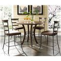 Hillsdale Cameron Round Wood Counter Height Table - Shown with Ladder Back Stools