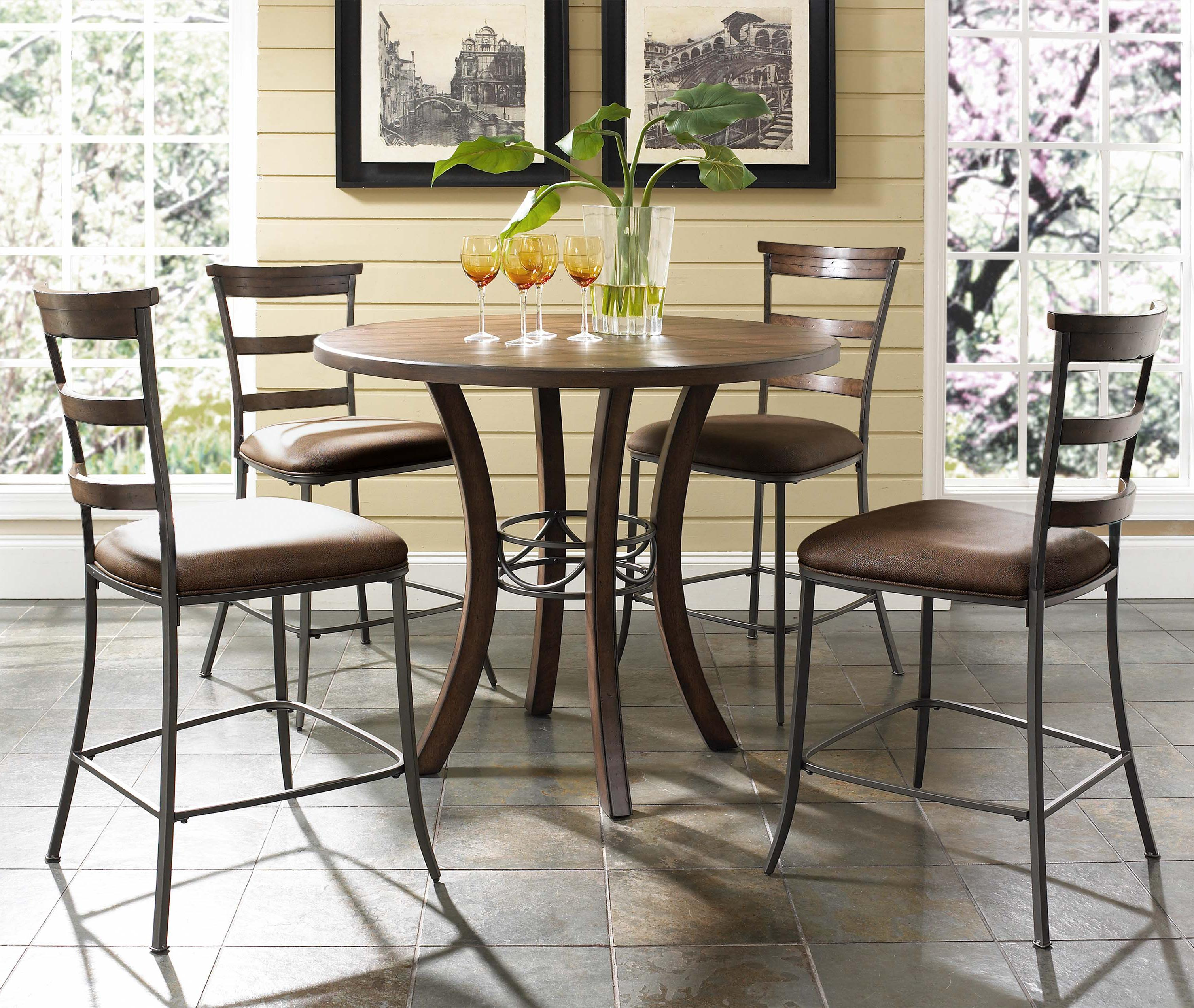 Hillsdale Cameron 5 Piece Round Counter Height Dining Set - Item Number: 4671CTBWS5