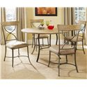 Hillsdale Charleston X-Back Side Dining Chair - 4670-802 - Shown with Round Metal Base Table